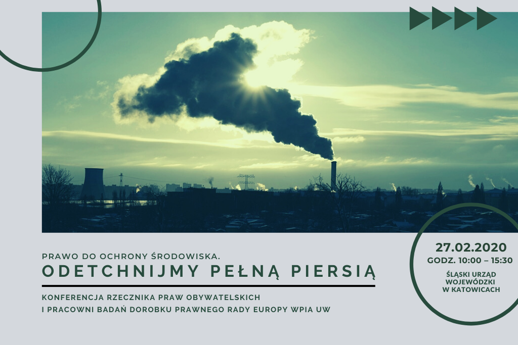 szaro-zielona plansza ze zdjęciem dymiącego kominu i tytułem konferencji