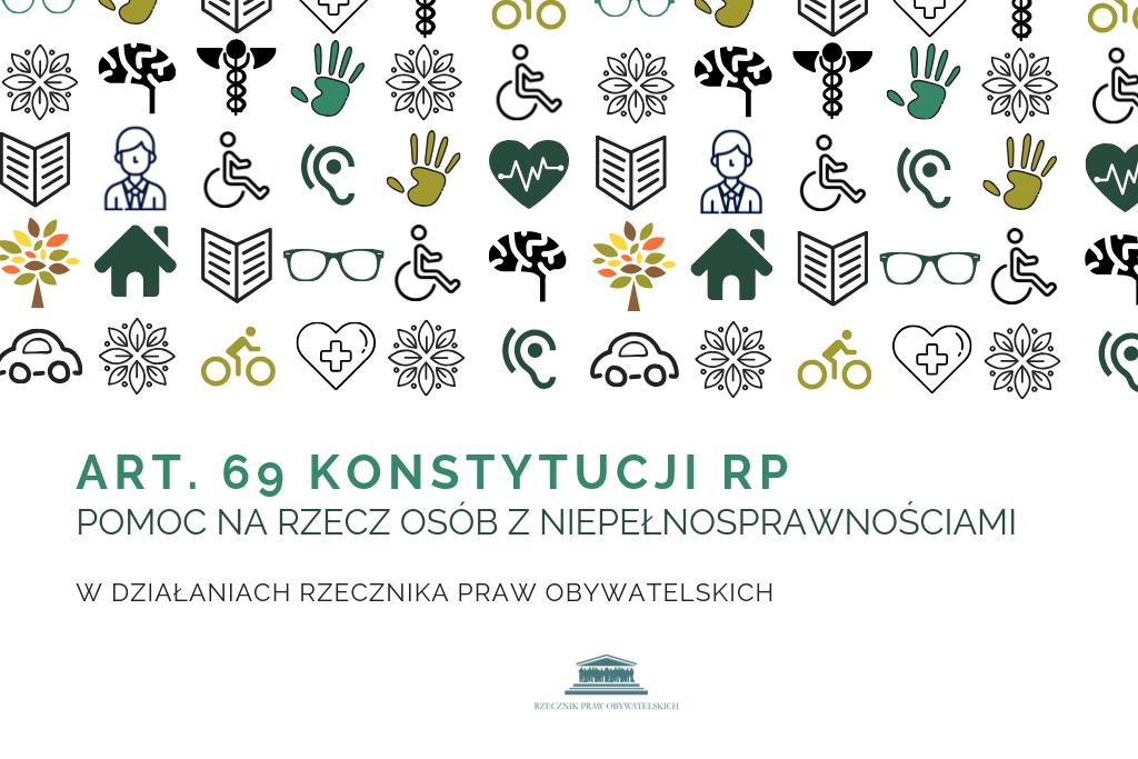 mem z kolorowymi ikonami symbolizującymi tematy związane z artykułem 69 Konstytucji RPO