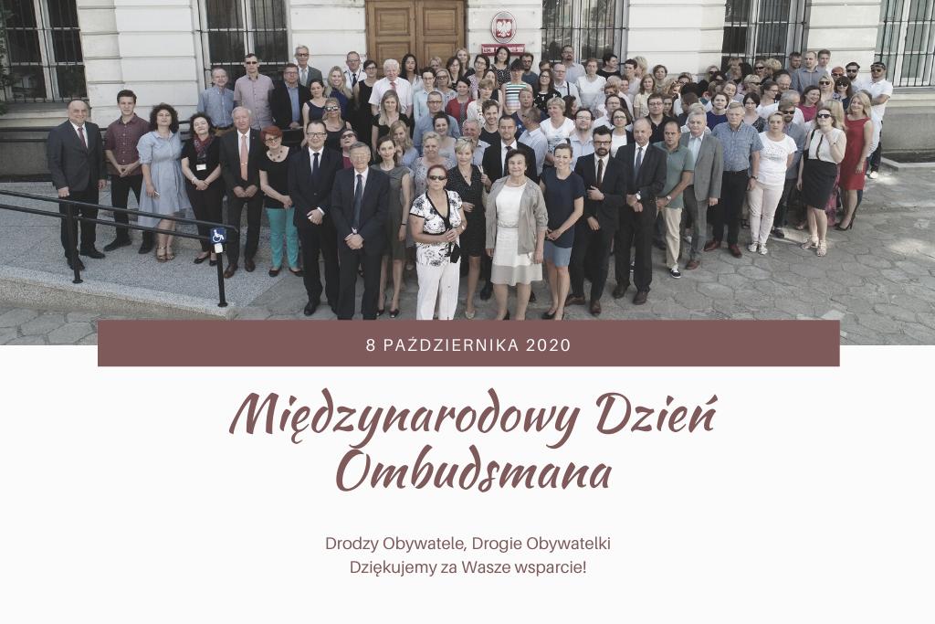 pracownicy BRPO i napis Międzynarodowy Dzień Ombudsmana