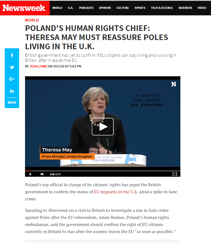 "Strona internetowa Newsweek.com z tytułem "" Poland's Human Rights Chief: Theresa May must reassure Poles living in the UK"
