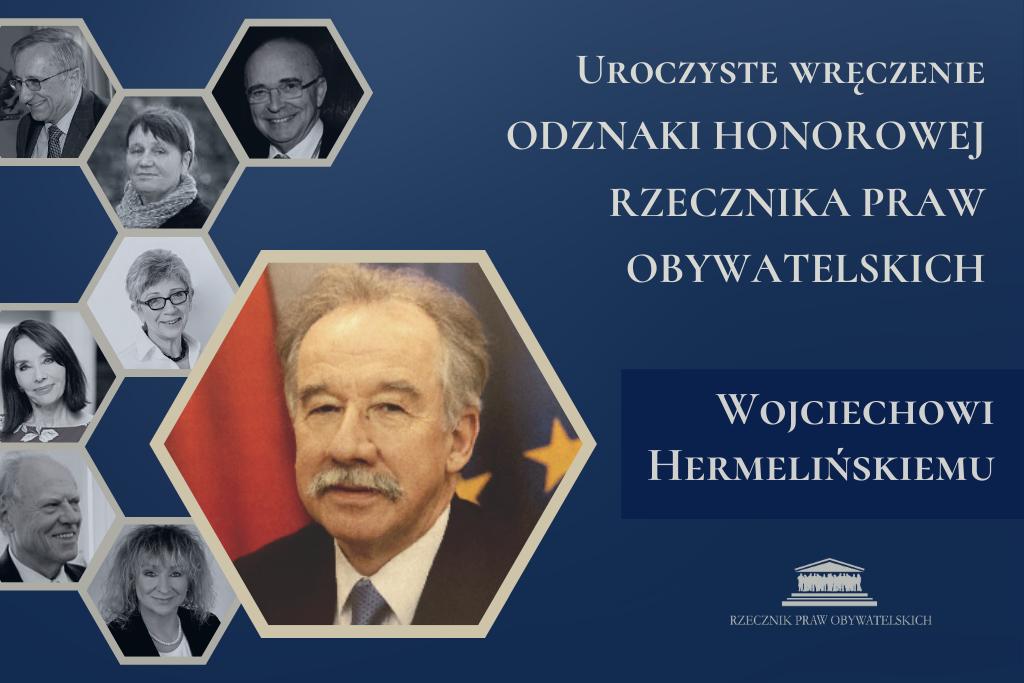Granatowa plansza ze zdjęciem sędziego, w tyle zdjęcia innych odznaczonych przez RPO