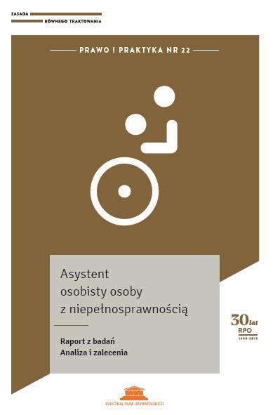 rafika: fragment okładki na brązowym tle biały piktogram przypominający człowieka na wózku