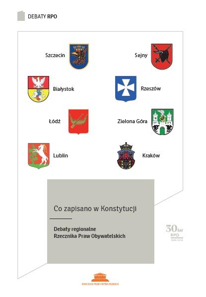 grafika: biała okładka z herbami sześciu miast oraz napis: Co zapisano w Konstytucji. Debaty RPO