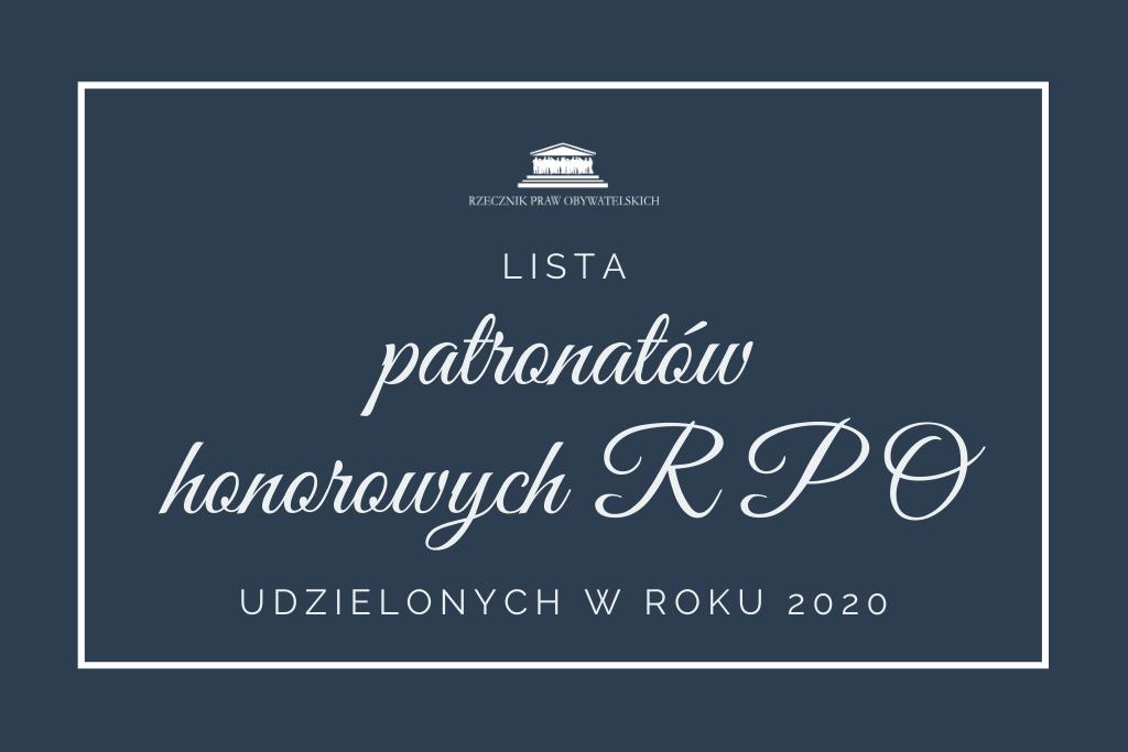 Granatowa plansza z napisem lista patronatów 2020