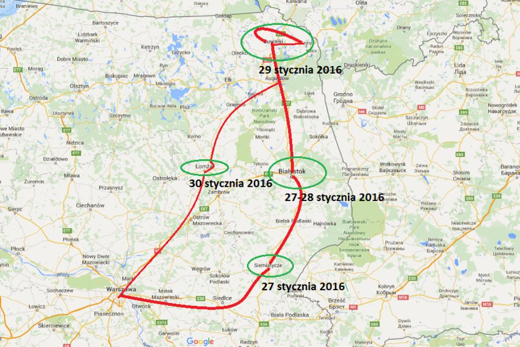 Mapa północno-wschodniej Polski z zaznaczoną trasą podróży RPO