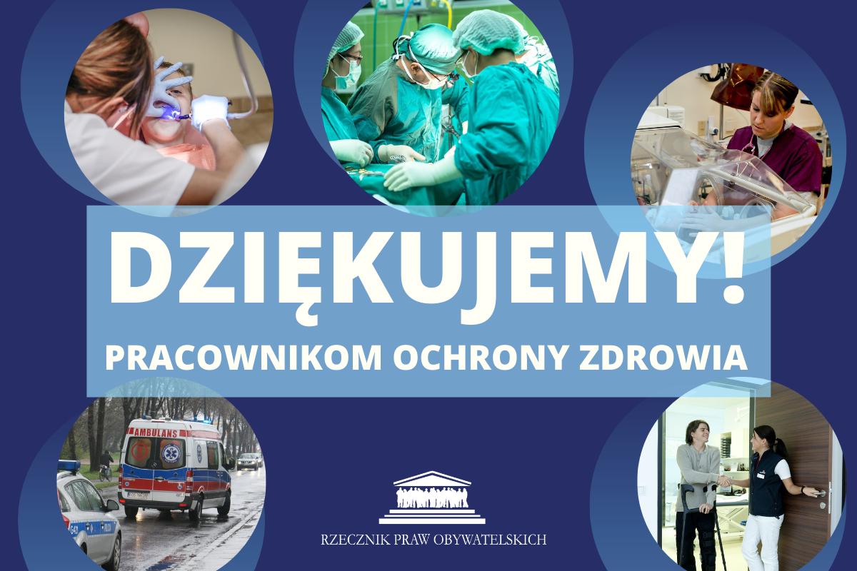 dziękujemy pracownikom ochrony zdrowia - granatowa grafika z ich zdjęciami