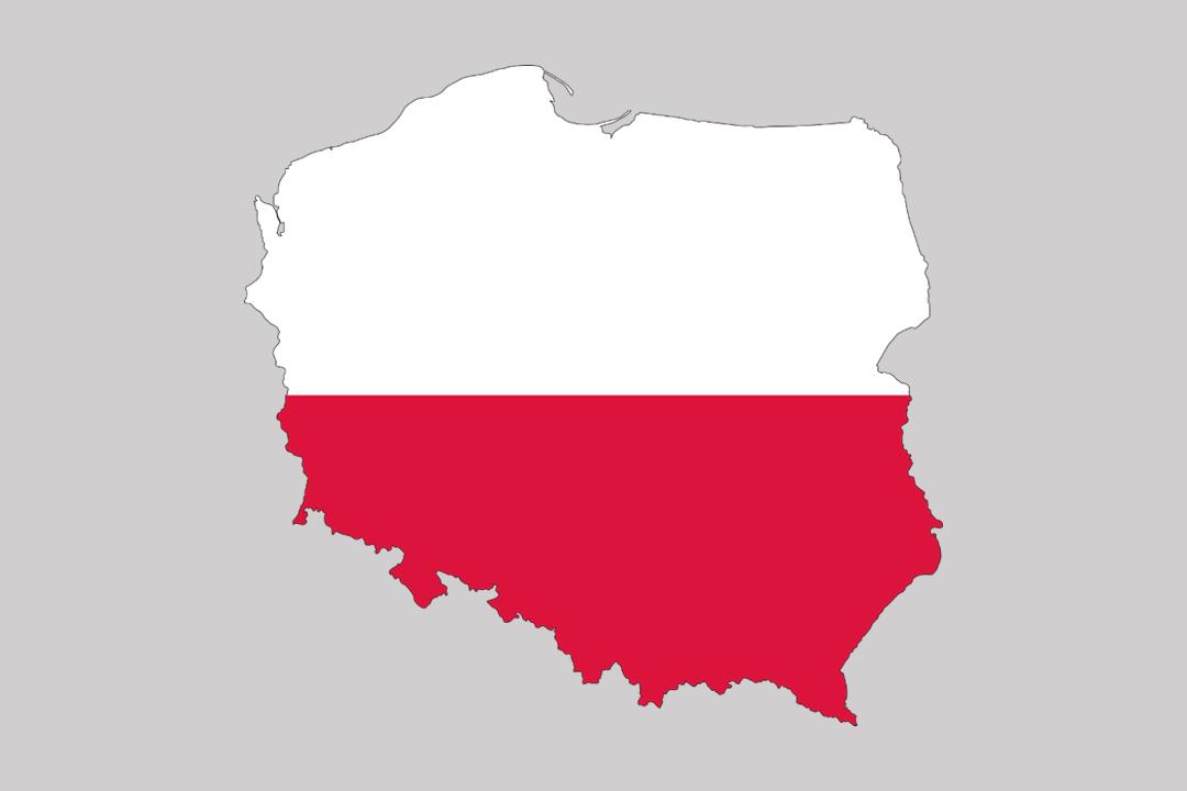Mapa Polski w barwach narodowych
