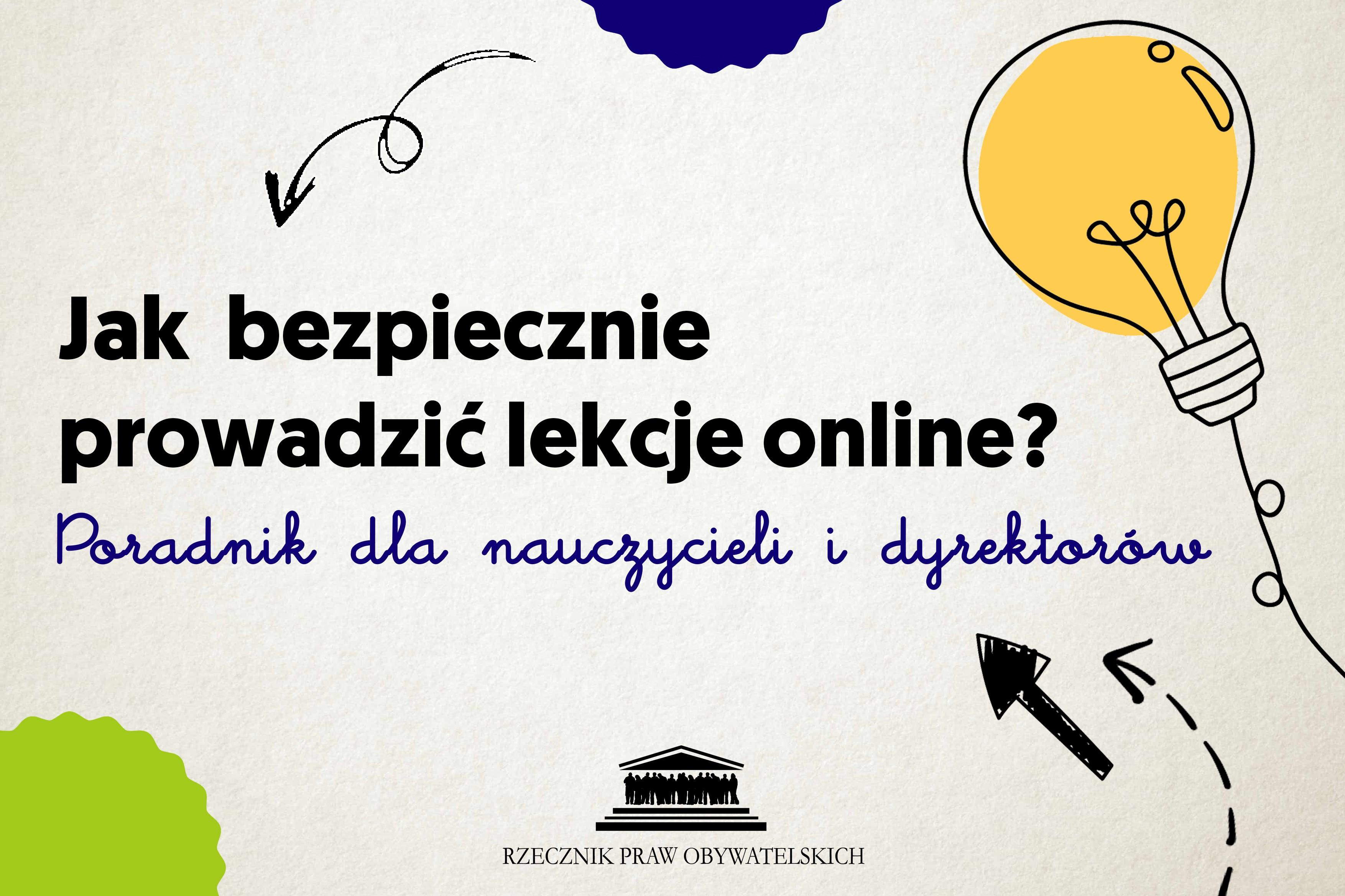szara plansza z żółtą żarówką i napisem - jak prowadzić lekcje online