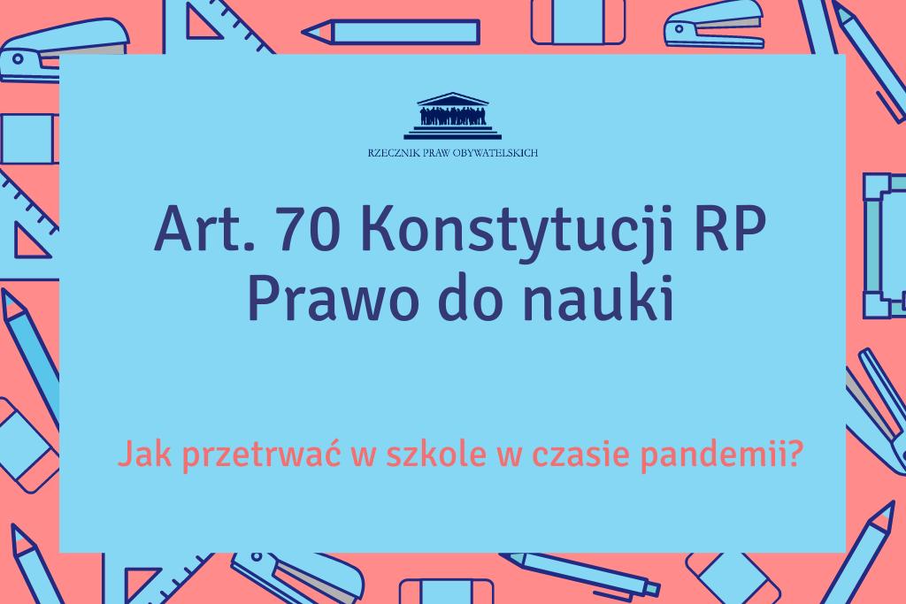 czerowno-niebieska plansza z napisem Prawo do nauki oraz wskazaniem art.70 Konstytucji