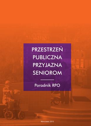 Pomarańczowa okładka publikacji  z fioletowym kwadratem