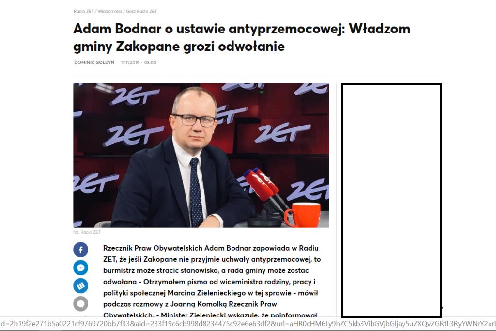 Screen ze strony Radia ZET ze zdjęciem Adama Bodnara