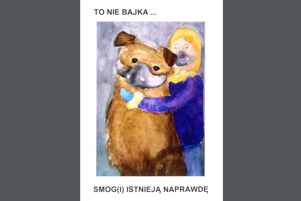 Okładka z rysunkiem - dziecko i pies w maskach przeciwsmogowych