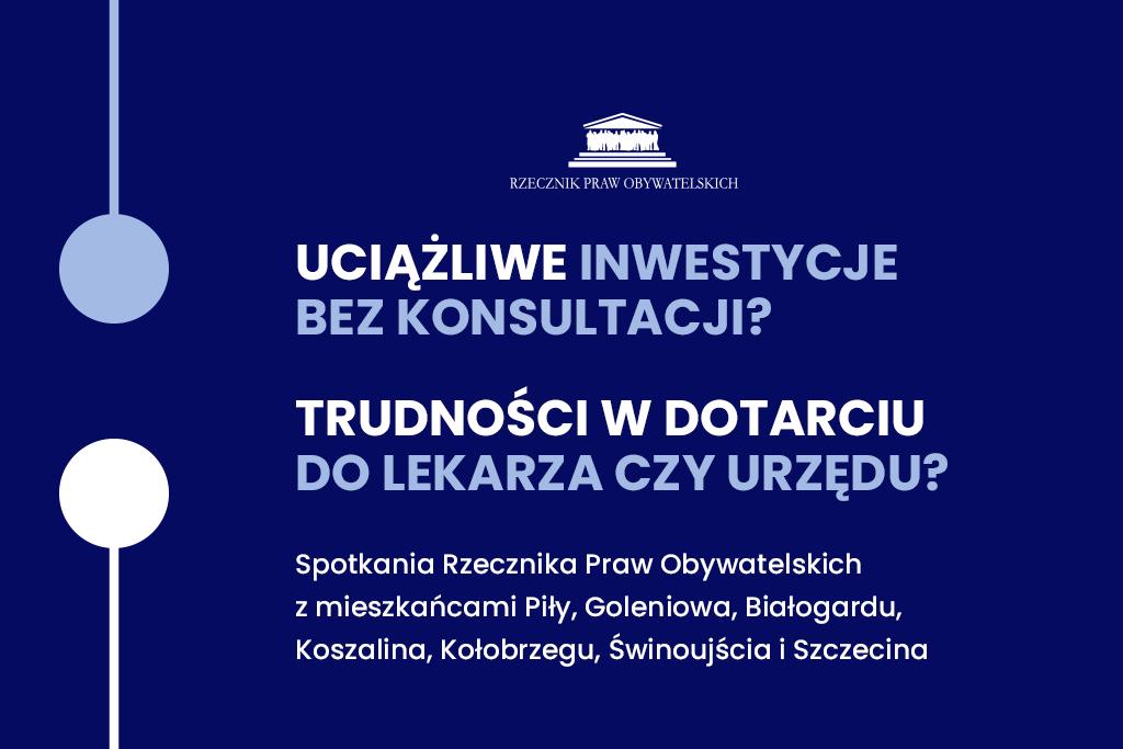 Ciemnoniebieski plakat z symbolem połączenia i nazwami miejscowości, w których odbędą się spotkania