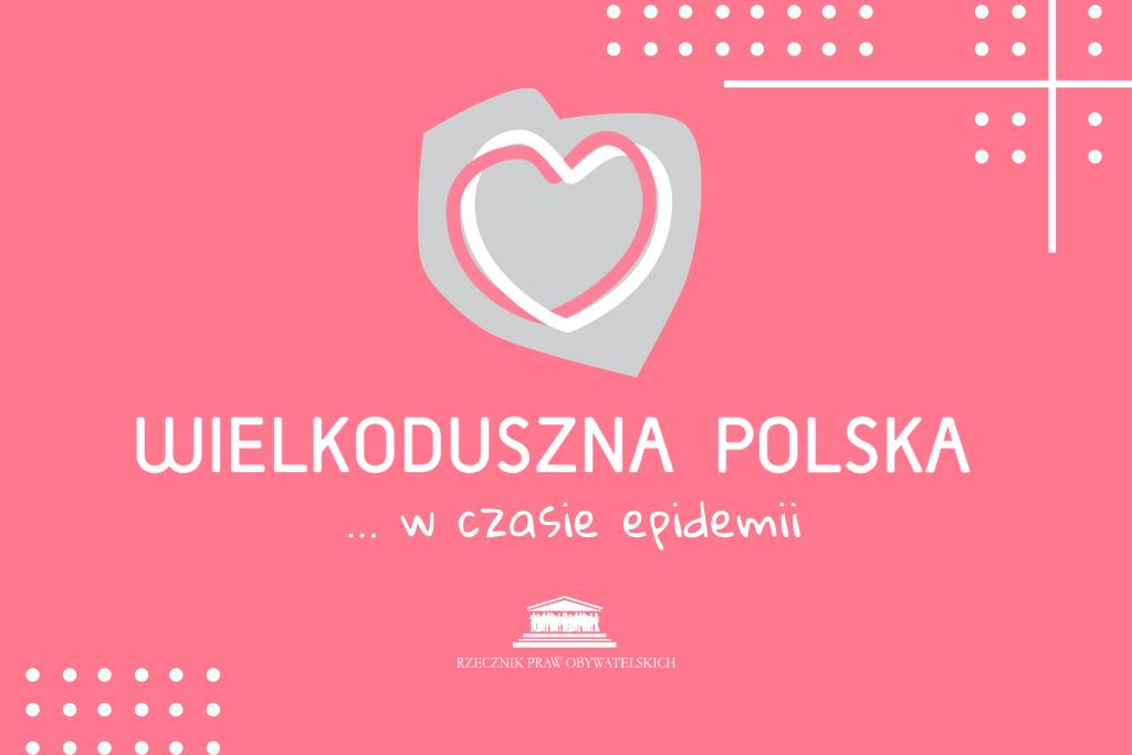 czerwona plansza z szarym sercem i napisem wielkoduszna polska w czasie epidemii