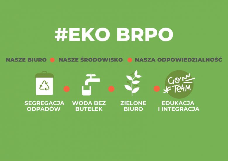 Grafika z zielonym tłem, napisem EKO BRPO, nasze biuro, nasze środowisko, nasza odpowiedzialność, segregacja odpadów, woda bez butelek, zielone biuro, edukacja i integracja oraz grafikami kosza na śmieci, kranu z wodą, gałązki i kółka z napisem go team