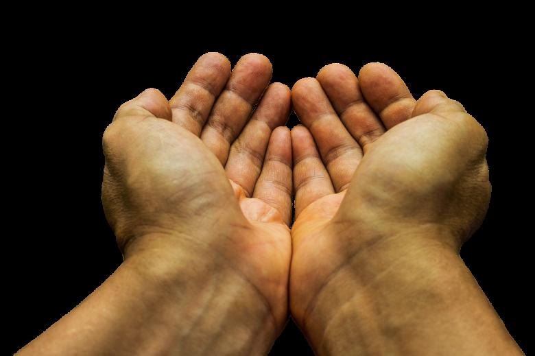 Ręce wyciągnięte w oczekiwaniu pomocy