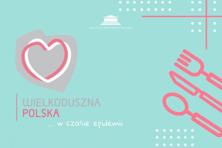 Grafika z sercem wpisanym w kontur Polski i sztućce