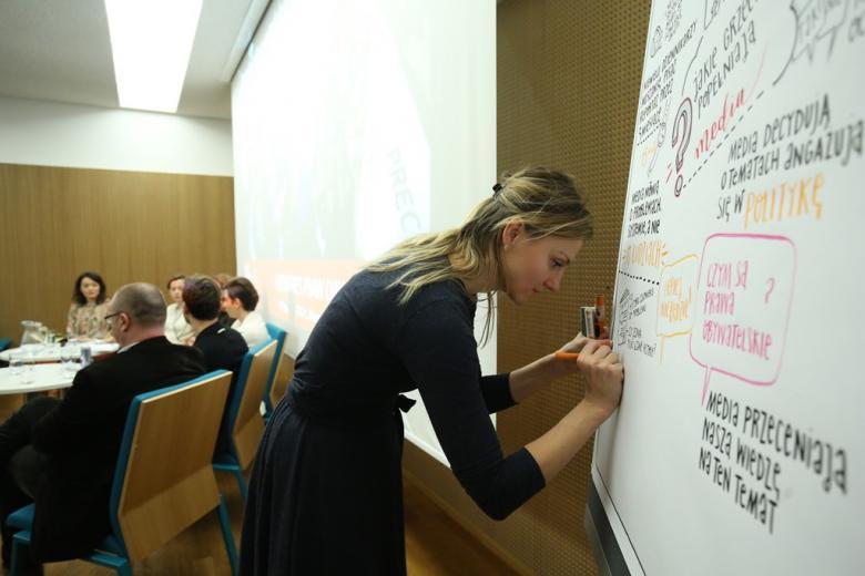 zdjęcie: na pierwszym planie kobieta wykonuje rysunek na dużej planszy