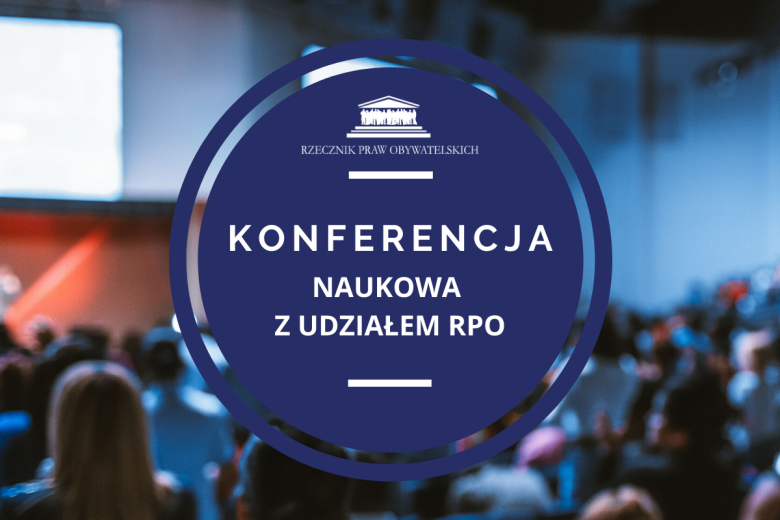 Granatowa grafika z napisem Konferencja z udziałem RPO