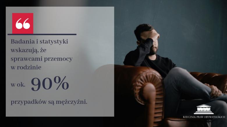 Zdjęcie mężczyzny i tekst: sprawcami przemocy w ok. 90 proc. przypadków są mężczyźni