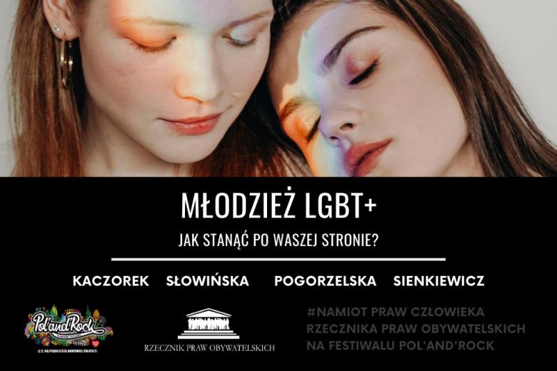 Plakat wydarzenia ze zdjęciem dwóch młodych kobiet i tęczowym refleksem