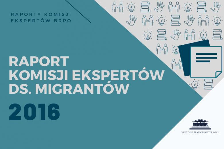 """niebieska plansza z napisem """"raport komisji ekspertów ds. migrantów"""""""
