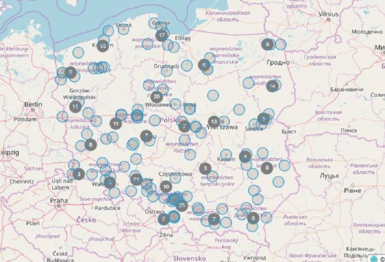 Mapa Polski z zaznaczonymi miejscami spotkań z RPO od 2015 r.
