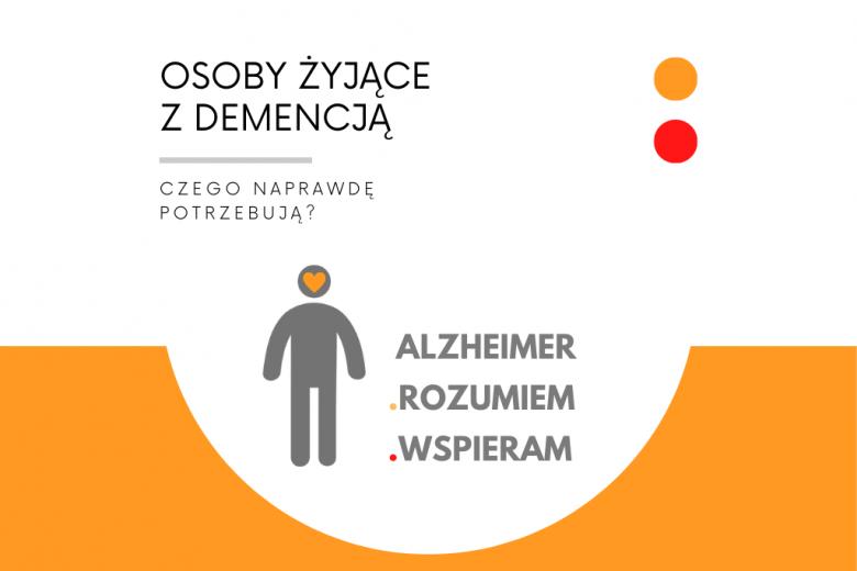 biało-pomarańczowa plansza z logo akcji Alzheimer.Rozumiem.Wspieram