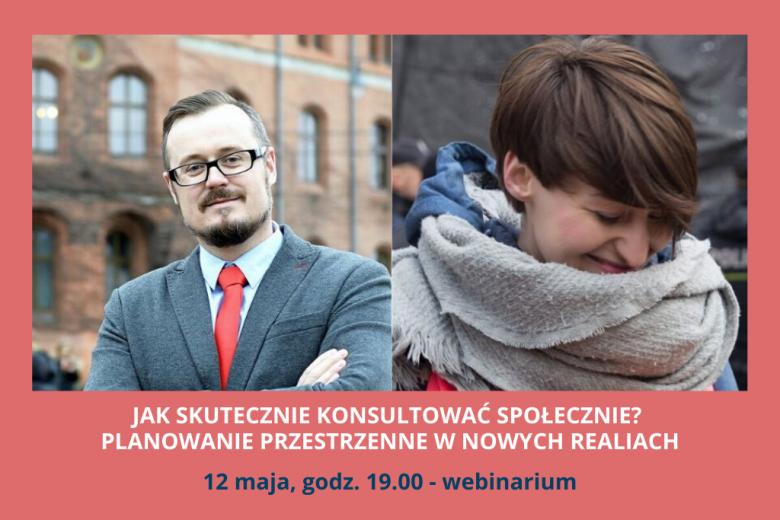 czerwona plansza z dwoma zdjęciami: mężczyzna po lewej i kobieta po prawej