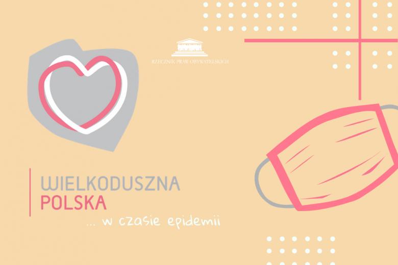 Grafika z sercem wpisanym w kontur Polski i maseczka sanitarna
