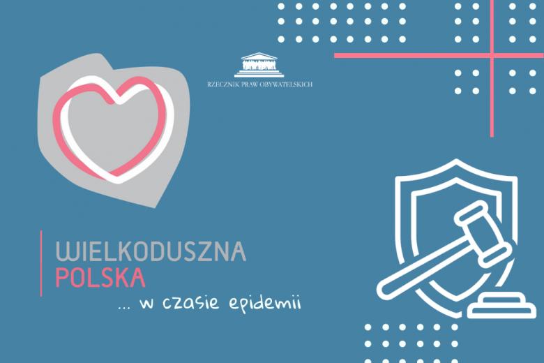Grafika z sercem wpisanym w kontur Polski i tarcza