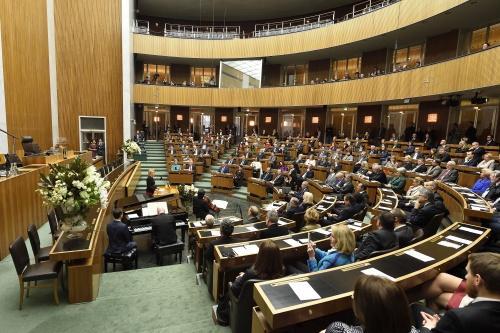 zdjęcie: wnętrze sali posiedzeń izby niższej austriackiego parlamentu