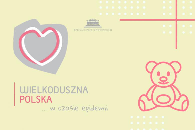 Grafika z sercem wpisanym w kontur Polski i miś