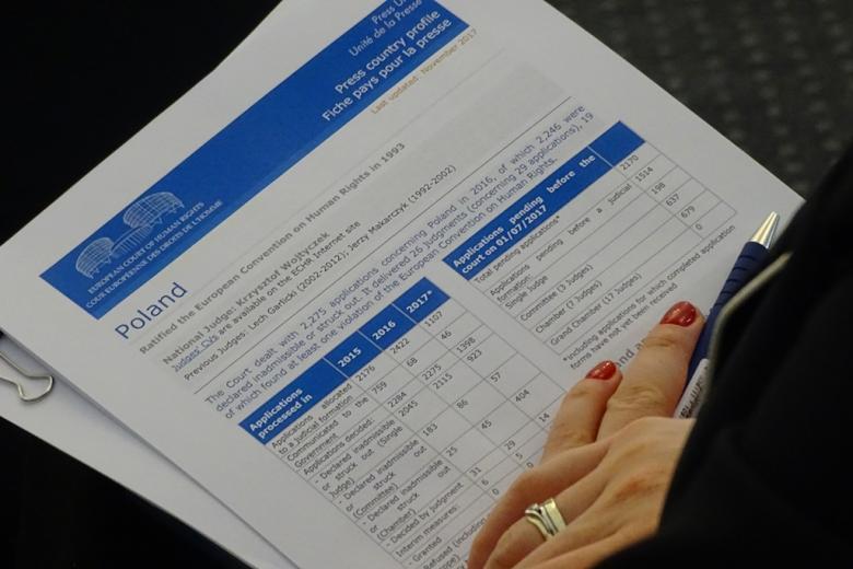 zdjęcie: plik biało-niebieskich dokumentów, na których leżą dłonie kobiety