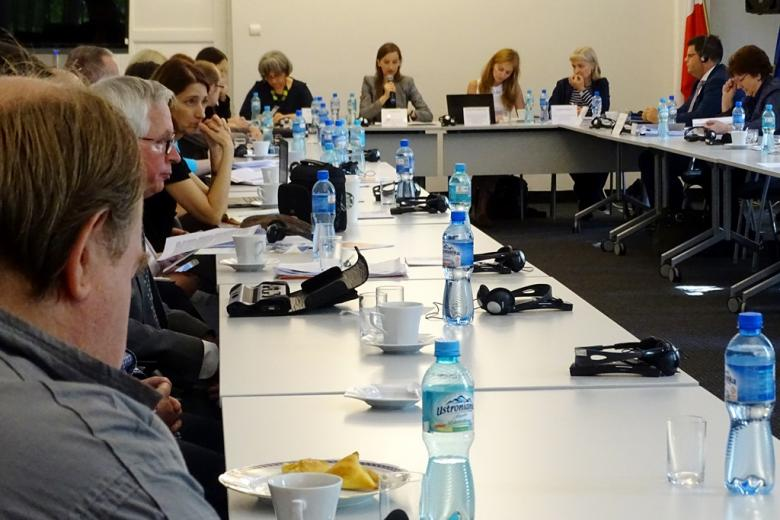 zdjęcie: kilkanaście osób siedzi za stołami, na końcu sali widać kobietę przemawiającą do mikrofonu