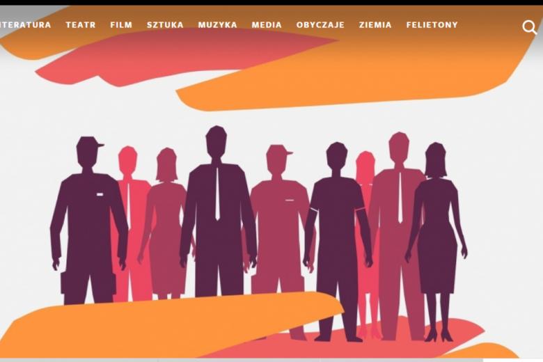 Witryna internetowa z przedstawieniem sylwetek ludzi. Pomarańczowa