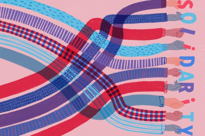 """grafika z rękami trzymającymi kolorowe tasiemki, na końcu których litery układają się w słowo """"solidarność"""" po angielsku"""