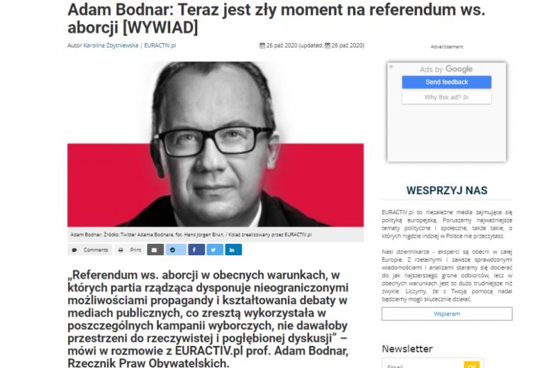 Screen ze zdjęciem Adama Bodnara i pierwszym akapitem wywiadu
