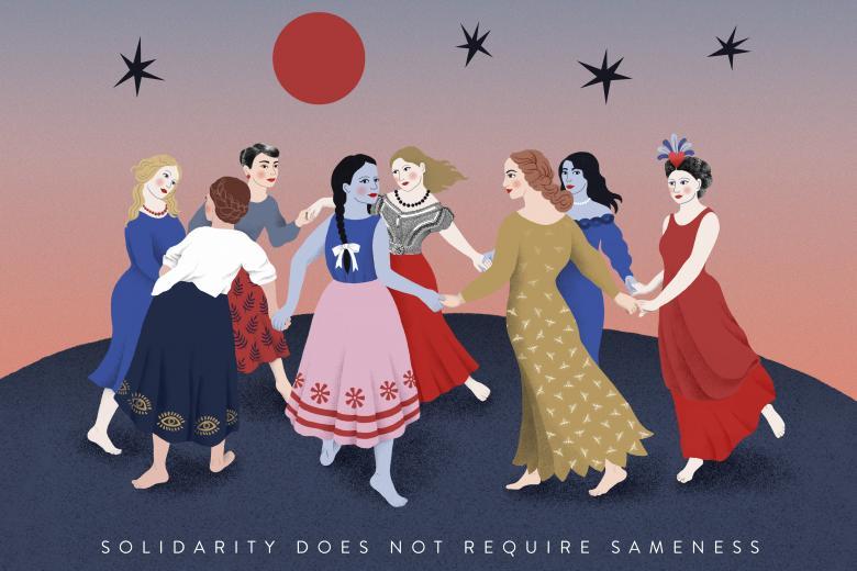 Obraz przedstawiający kobiety tańczące w kole, trzymające się za ręce, o różnych odcieniach skóry