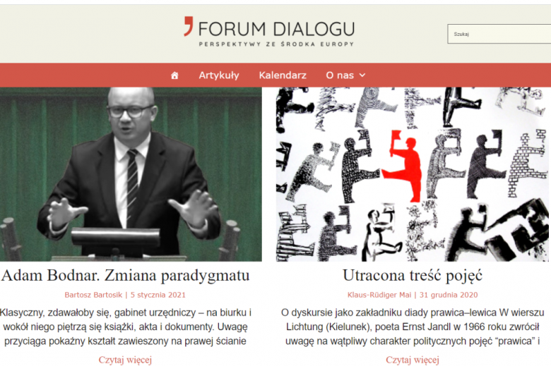 Screen pierwszej strony portalu Forum Dialogu
