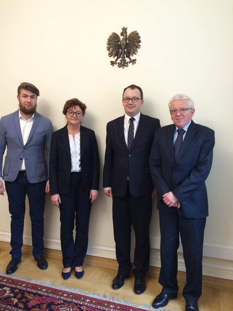 na zdjęciu Grzegorz Sikora, Dorota Gardias, dr Adam Bodnar, Lesław Nawacki