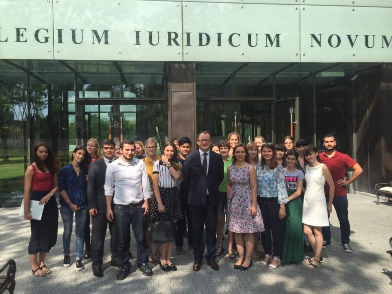 Dr. Adam Bodnar with members of the Summer Course in Poznań Centre for Human Rights
