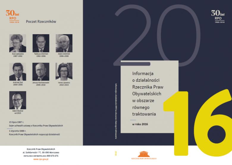 """Okładka publikacji """"Informacja roczna w obszarze równego traktowania"""""""