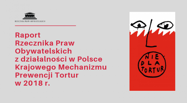 Okładka z tytułem raportu i plakatem apelującym o powstrzymanie tortur