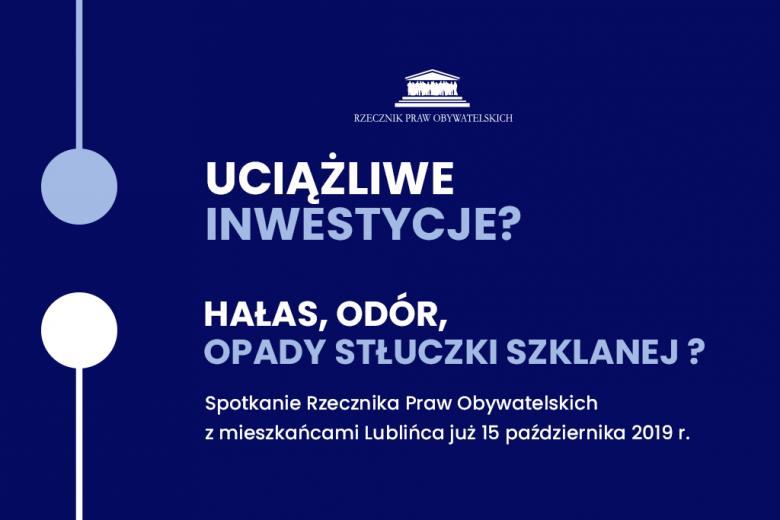 """Granatowy plakat z niebieskim symbolem łączenia się i napisem """"Uciążliwe inwestycje"""""""