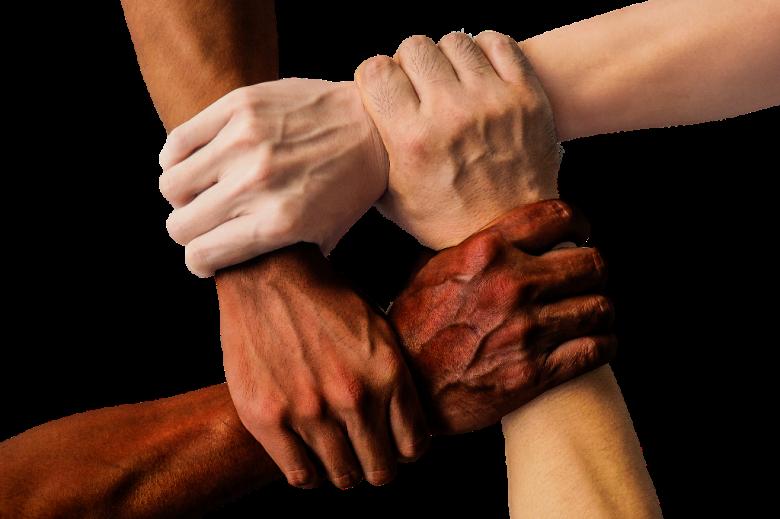 Cztery dłonie o różnym odcieniu koloru skóry