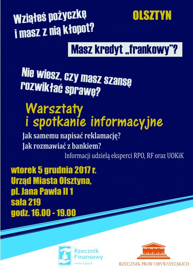 Plakat informujący o spotkaniu w Olsztynie