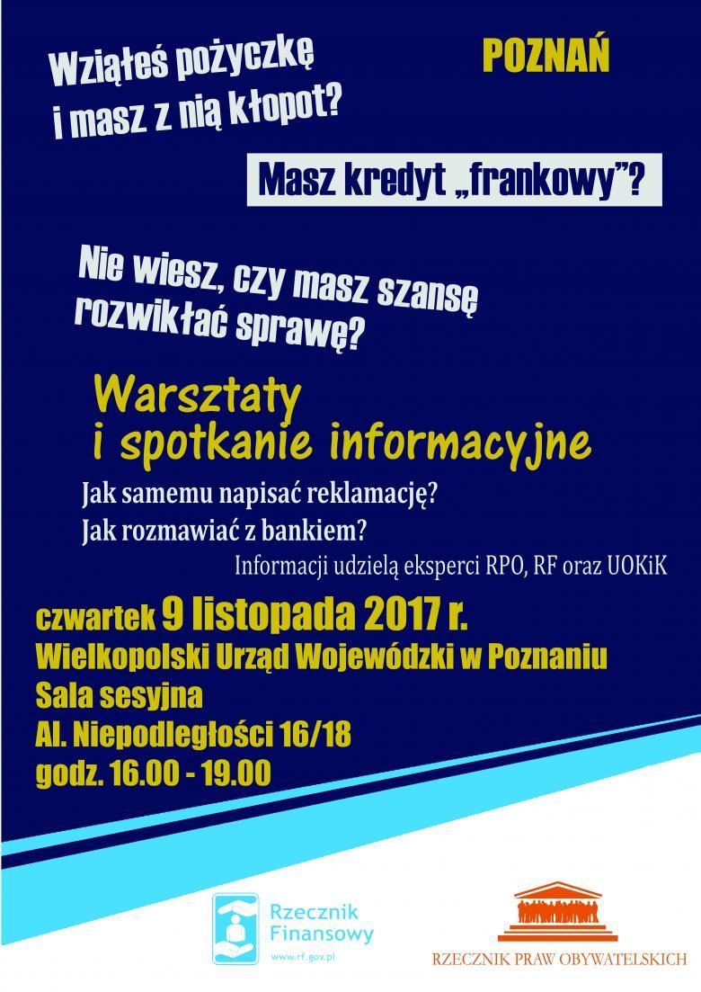 """Plakat informujący o spotkaniu w sprawie kredytów """"frankowych"""" w Poznaniu"""