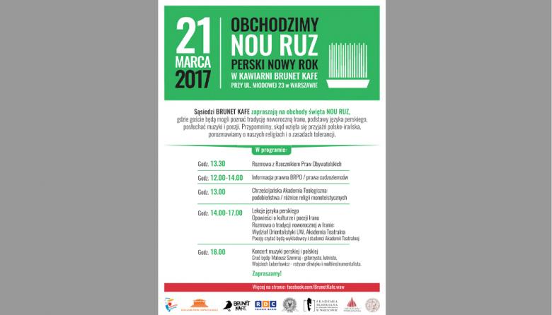 Plakat zapraszający do udziału w Irańskim Nowym Roku w Brunet Cafe przy Miodowej w Warszawie 21 marca 2017