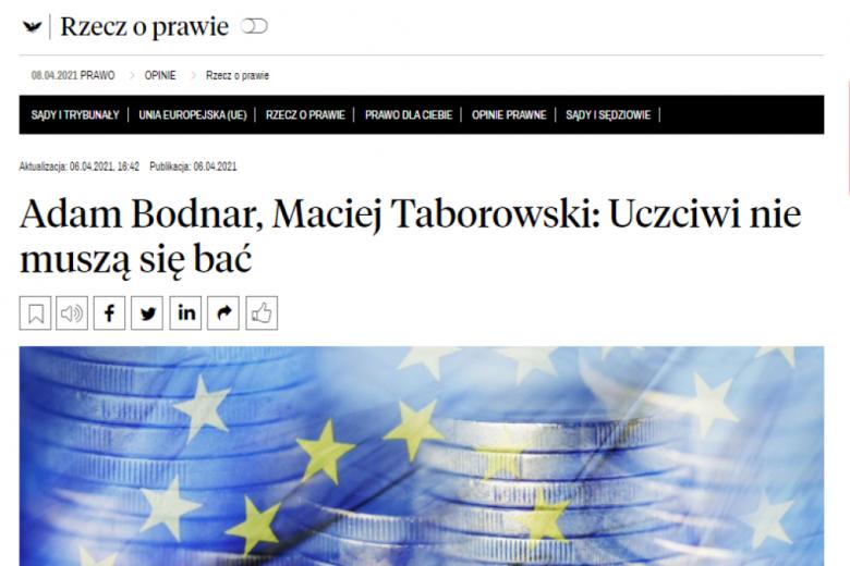 Screen strony gazety z tytułem artykułu